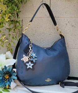 COACH 37810 DENIM leather ELLE RIVETS hobo crossbody handbag purse shoulder bag