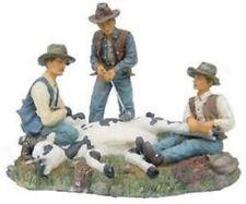 Deko Western Cowboy `s mit Kuh beim Brandmarken Figur handbemalt aus Polyresin