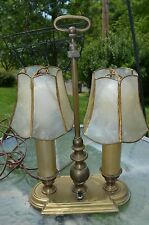 Vintage Double Light Desk Lamp Brass Leaded Celluloid shades  Original working
