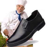 Men's Chef Shoes Leather Flats Kitchen Non-slip Oil-resistant Waterproof Work NE