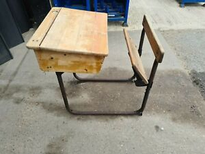Vintage, Old Fashioned, Antique, Childrens Kids Wooden School Desk With Lid