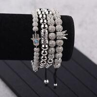Men Handmade Silver CZ Crown Round Beads Braided Rope Bracelet Adjustable Bangle