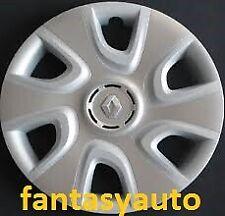 "Renault Clio Set 4 Borchie Coppe Ruota Copricerchi 15"" Logo Cromato 5753/5LC"