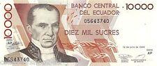 Ecuador 10000 Sucres 1999-07-12 Unc pn 127e.2