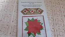 Poinsettia Table Runner and Placemat Machine Embroidery Applique Design NIP