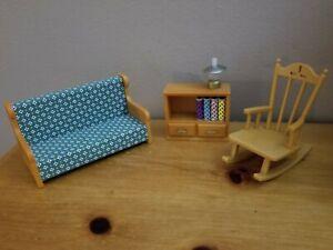 Calico Critters Living Room Set - Sofa, Book Shelf, Lamp, Rocking Chair (Epoch)