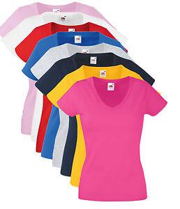 Womens Fruit of the Loom Plain Cotton Ladies Fit V Vee Neck T-Shirt Tee Shirt