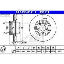 ATE 2x Brake Discs Vented Coated 24.0136-0111.1