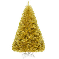 6ft Artificial Tinsel Christmas Tree Hinged w/1036 Tips Foldable Stand Champagne