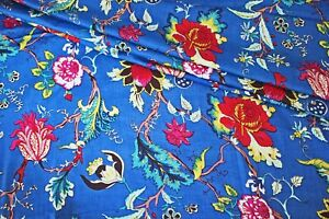 Blue Red Floral 100% Cotton Indian Hand Block Print Dress Material Craft Fabric