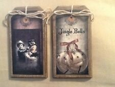 5 WOODEN Prim CHRISTMAS Ornaments/HangTags/GiftTags Stocking,Bells,Snowman SET0