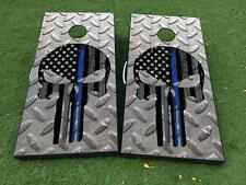 Punisher metal US blue line Cornhole Board Game Decal VINYL WRAPS with LAMINATED