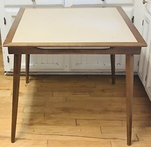 """Mid-Century Stakmore 32"""" Square Wood Card Table Vinyl Top + Inward Folding Legs"""