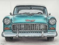 Drawing Colored Pencil Art Vintage Car 1955 Chevy Bel Air Classic (NOT A PRINT)