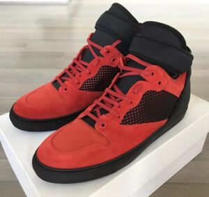 800$ Balenciaga Red Suede High Tops Sneakers size US 10, EU 43, Made in Italy