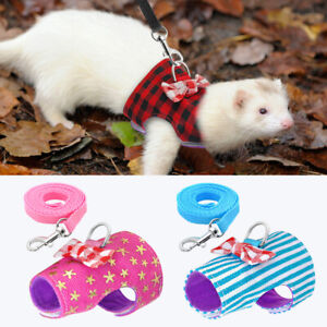 Small Animal Harness and Leash Soft Squirrel Ferret Hamster Rabbit Vest Clothes