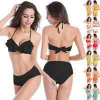 ruffles designu molded cup bikini top+mid-rise full coverage bottom tankini set