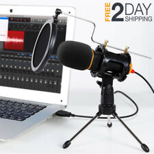 USB Microphone With Stand Tripod Pop Filter For Recording PS4 Gaming Computer