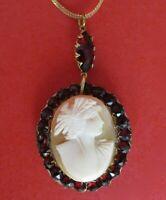 Antique Victorian Bohemian Garnet Cameo Necklace