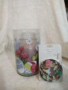 Yankee Candle Large Jar Holder EASTER CRACKLE eggs & tulips w/Illuma Lid - NWT