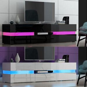 Large 177cm LED TV Unit Stand Cabinet High Gloss Doors and Matt Body Livingroom