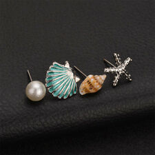 Lovely Women Shell Simulated Pearl Conch Starfish Stud Earrings Set Ear Stud