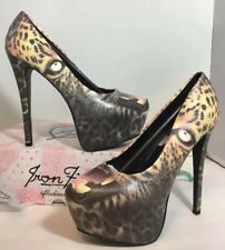 NEW IRON FIST High Heels Size 7 Black Leopard Face Animal Print Platform Shoes