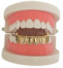 Hip Hop 14k GP Gold CZ Mouth Teeth Lower Bottom Half Bar Grills Grillz S001-hcz