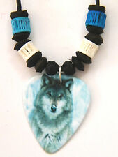 "WOLF NECKLACE Gray WILD Wolves Picture on Pick Sea Shells 16""-28"" Cord NEW!"