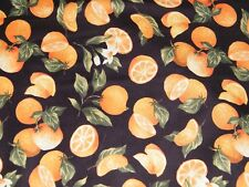 BTY ORANGES on Black Print 100% Cotton Quilt Fabric by the YARD