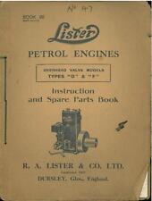 LISTER PETROL ENGINES OHV TYPES D & F OPERATORS & PARTS MANUAL