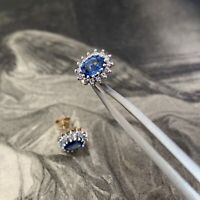 Vintage 9ct Gold Sapphire and Diamond Cluster Earrings, UK Hallmarked Dates 1994