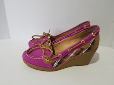 Sperry Top-Sider Goldfish Pink Plaid Wedge Heel Shoes Women's Size 8M 8 M