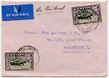 CEYLON 10 MAY 1940 AIRMAIL to GB 2 x 50c