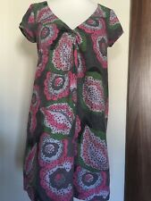 "White Stuff Pink Grey V Neck Knotted Short Dress Tunic Top Sz 12 L33"" Lined"