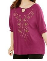 Just My Size Plus SIze 3/4 Sleeve Pink Top Shirt Tunic Top 1X  2X 3X 5X NWT