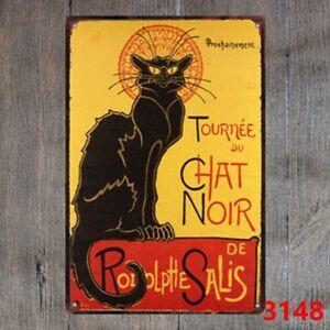 Metal Tin Sign tournee du chat noir Decor Bar Pub Home Vintage Retro