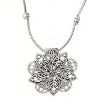 Vintage Bohemian Pendant Tibet Silver Color Carved Leaves Flowers Boho Style