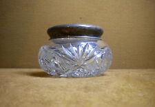 STERLING LID  CUT GLASS CRYSTAL DRESSER POWDER VANITY JAR