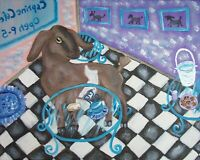 Nubian at the Cafe Dairy Goat Vintage Style Art Print 8 x 10 Signed Artist KSams