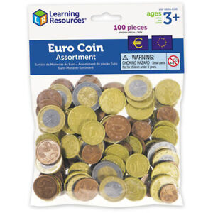 Learning Resources Toy Euro Coin Assortment Play Money Pack of 100
