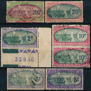 MADAGASCAR, FRENCH COLONY, MINT & USED LOT OF 7 DIFF. VAL. REVENUE STAMPS. #K289