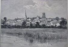 "ANTIQUE ENGRAVING PRINT ""VIEW OF DORCHESTER"" ENGLAND C 1886 A"
