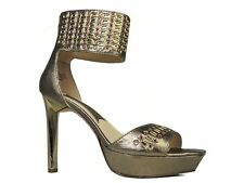 Boutique 9 Women's Real Luv Ankle Cuff Sandals Light Gold Leather Size 8.5 M