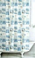 Famous Home FAIR HARBOR Fabric Shower Curtain Boats Lighthouse Flag Nautical New