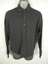MENS MANGO NAVY/GREY CHECKED BUTTON UP LONG SLEEVED CASUAL SLIM SHIRT M MEDIUM