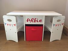 Kids Children Table And Chairs Set Play Lego Boy Girl Red,White & Blue Storage