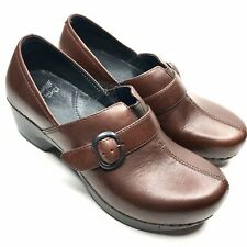 Dansko Clogs Women's Sz 6 Brown Leather Wedge Heel With Strap And Buckle 36 EUC