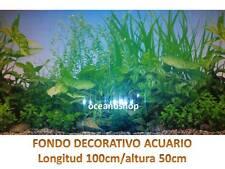 FONDO DECORATIVO ACUARIO longitud 100cm altura 50cm plantas pecera terrario D466