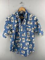 Puritan Men's Vintage Short Sleeve Hawaiian Fishing Shirt Size M Blue
